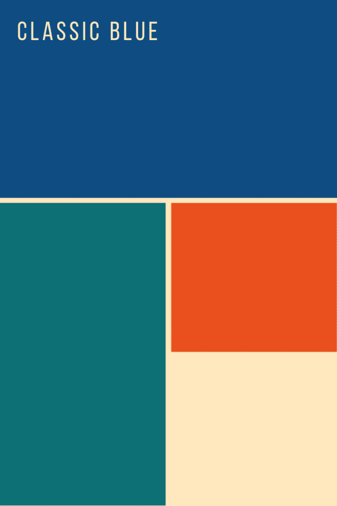 color palette with classic blue, teal, orange, and cream