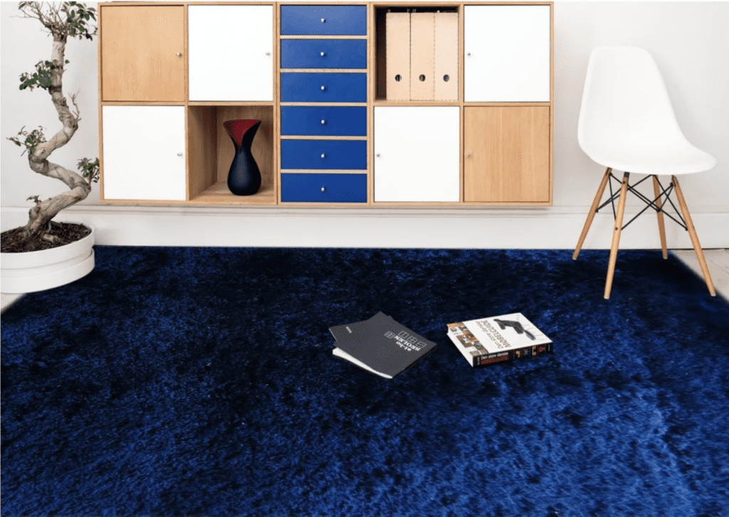 room with dark blue shag run, white wooden chair, and hanging cubbies on wall
