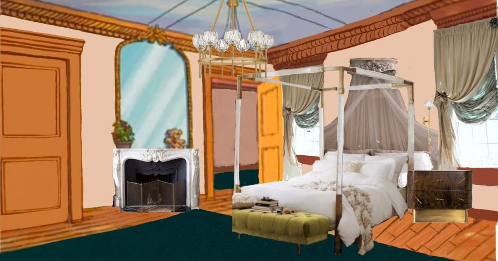 Muffy Crosswire's room rendered with real, modern parisian furniture