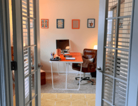 My bright + colorful office: a fun workspace