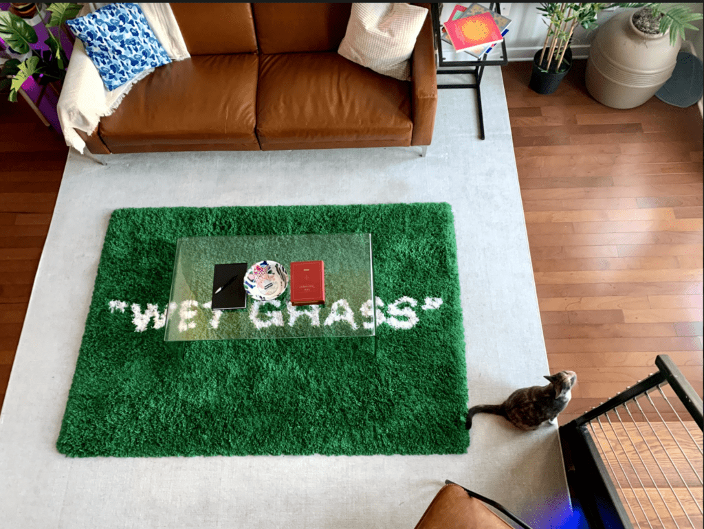 "hypebeast element: Offwhite x Ikea ""WET GRASS"" rug"