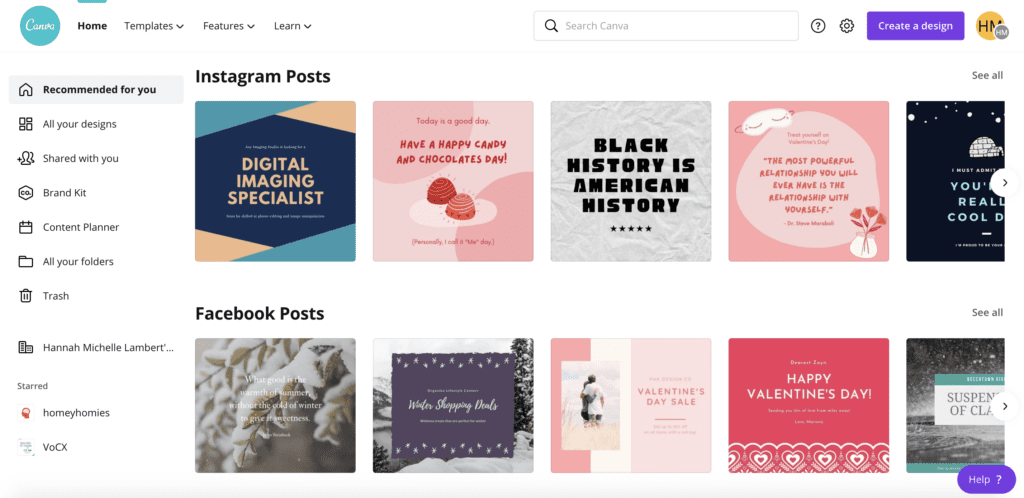 Canva interface - digital tools for design