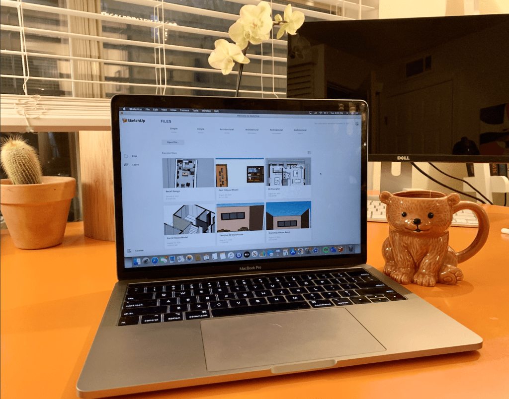 Laptop with Sketchup on screen - top 3 digital tools for interior design