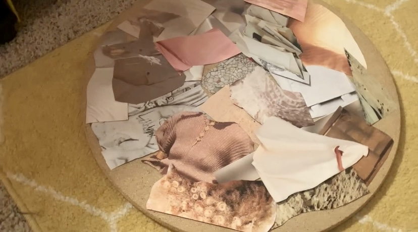 background layer of the diy collage side table laid down on tabletop