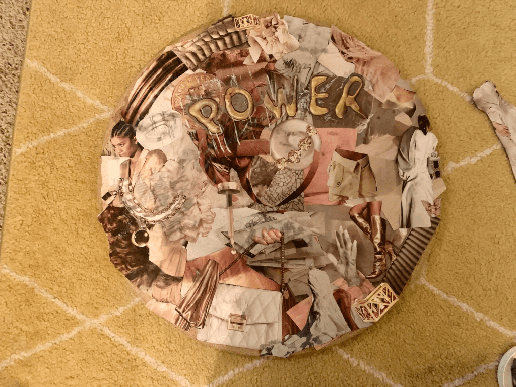 Final collage on tabletop