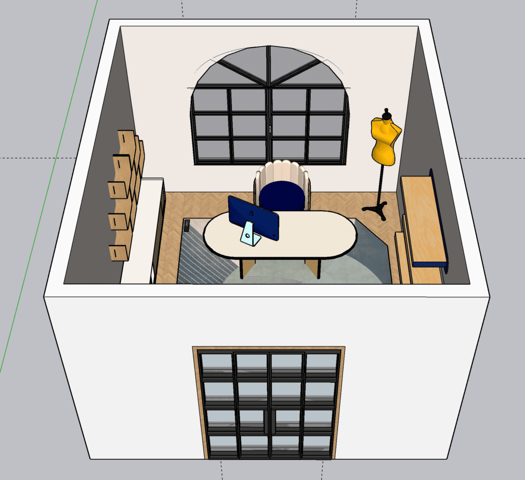 a view of the outside of the blue m1 iMac inspired office. A square-shaped office with black French doors in the front and a large arched window at the rear. A overhead view of the whole office