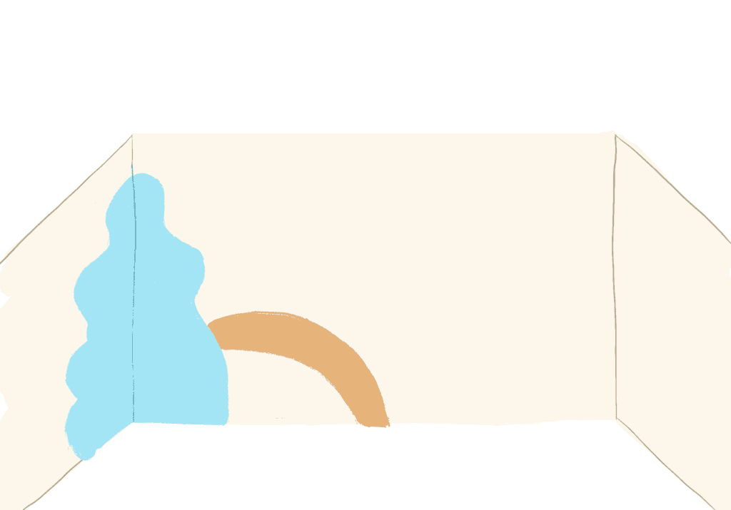 Procreate rendering of room with cream walls and a light blue splotch on the corner with a pale, dusty orange arch