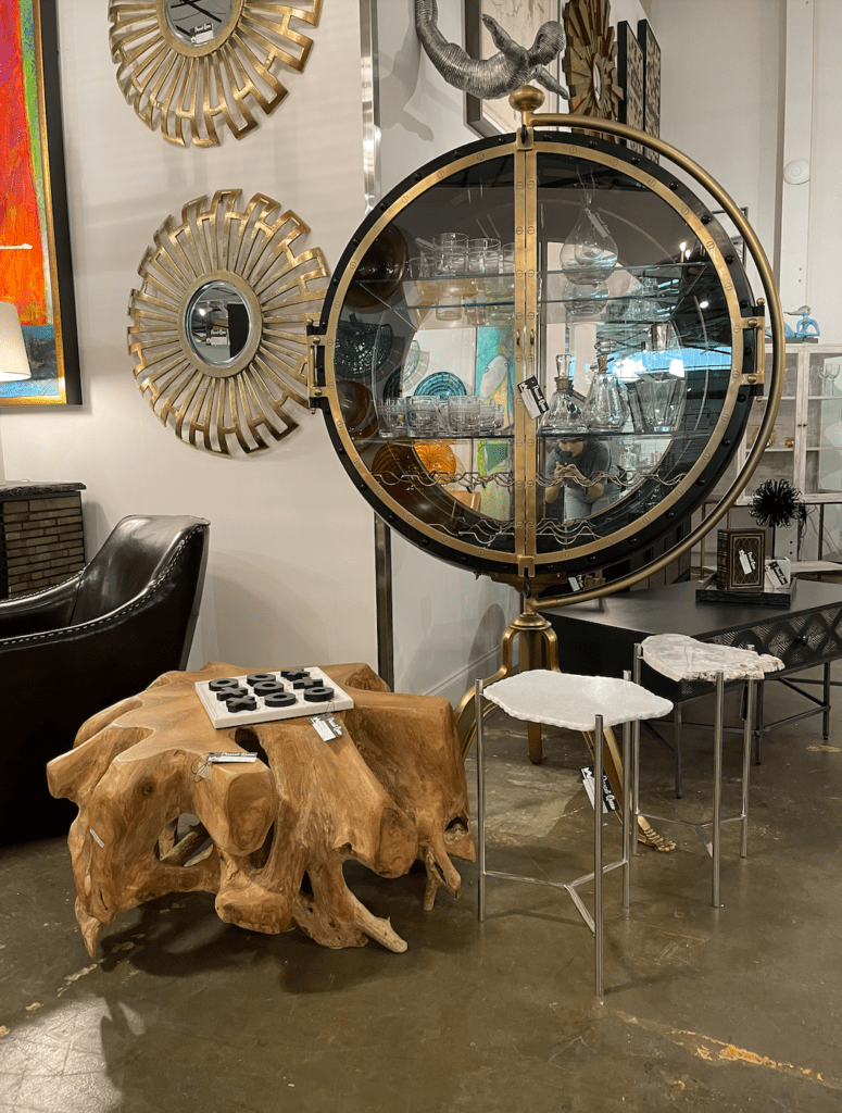 Converted mirrored vault bar cabinet - Westside Market - most instagrammable places in atlanta